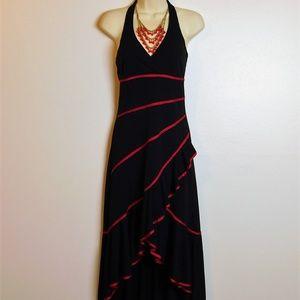 Sexy Black Red Halter Ruffle High Low Midi Dress S